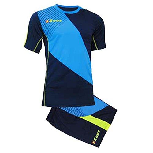 Zeus Kit Alex Herren Fußball Trikot Shirt Hosen Klein Armel Kit Fußball Volley Hallenfußball Training Blau-Royal-Gelb (XXL)