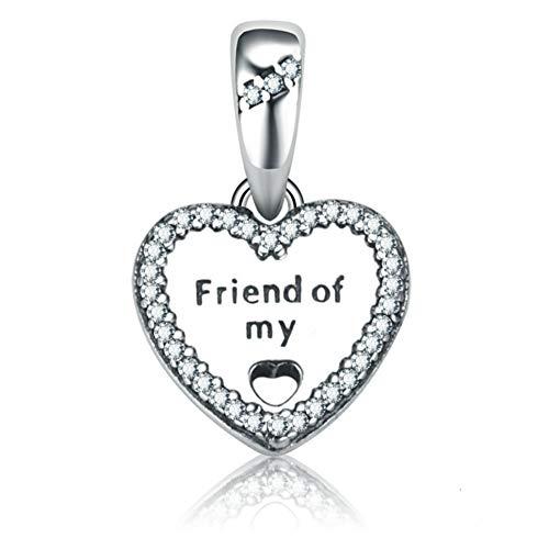 Zxx jewelry amico dei miei charms in argento sterling 925 con perle di fascino senza nickel per braccialetto e collana con ciondolo con zirconi 5a