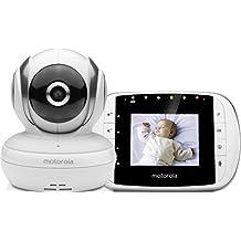 """Motorola MBP 33S - Vigilabebés vídeo con pantalla LCD a color de 2.8"""", modo eco y visión nocturna, color blanco"""