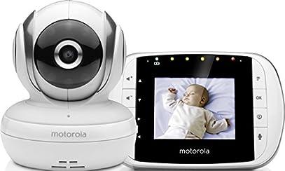 """Motorola Baby Monitor Video Digitale con Schermo LCD a Colori da 2.8"""", MBP33S, Bianco"""