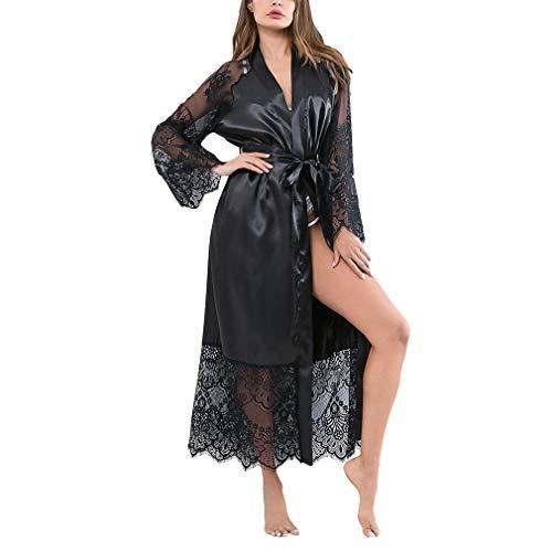 Yying Spitze Nachtwäsche Roben Frauen Satin Sexy Bademantel Unterwäsche Lace Up Durchsichtig Flare Sleeve Elegante Lange Nachtwäsche Mit Gürtel Satin Flare