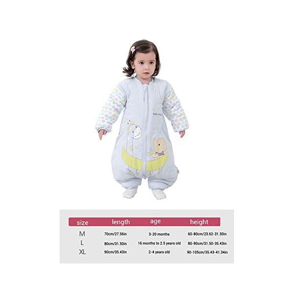 Egosy – Saco de Dormir para bebé con piernas Forradas para Invierno, de Manga Larga, con pies para bebés l