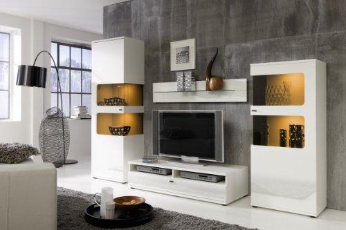 Wohnwand Anbauwand Weiß, Fronten Hochglanz, optional LED-Beleuchtung, Beleuchtung:mit Beleuchtung
