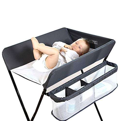 QZ® Folding Changing Table - Nursery Restroom Boys Infants Baby Diaper Station with Safety Straps, Easy to Clean, Gray (Size : Height 100cm)