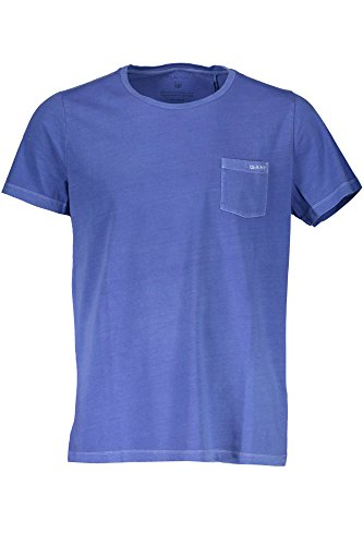 GANT Herren Sunbleached SS T-Shirt, Blau (Palace Blue 424), X-Large (Garment Washed Pocket T-shirt)