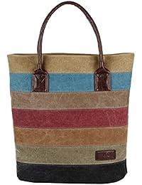 SNUG STAR Multi Color Striped Canvas Bag Shoulder Bag Tote Handbag With Large Capacity For Women