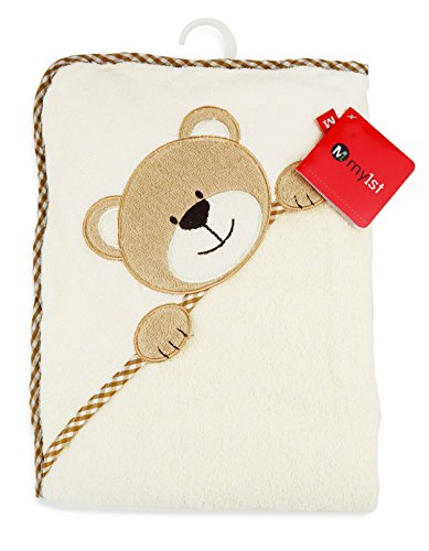 Baby Badehandtuch mit Kapuze in weicher Baumwolle - Kinder Kapuzenhandtuch - Warm und kuschliger Baby Poncho - 100x100cm - Bär