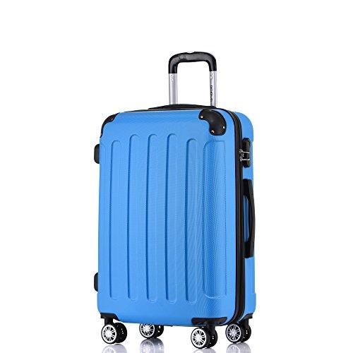 BEIBYE Hartschalen-Koffer Trolley Rollkoffer Reisekoffer Handgepäck 4 Rollen (M-L-XL-Set) (Turquoise, M) - Drive Sicherheit-roller