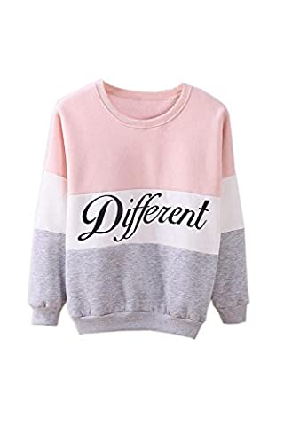 SODIAL(R) Women's Letters Printed Different Mix Casual Loose Sweater Pullover Gray+Pink M