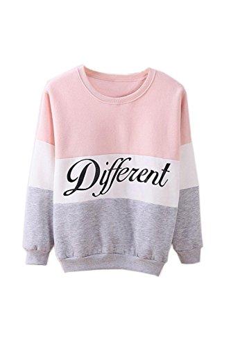 SODIAL(R)Ropa femenina Cartas estampadas Diferente Mixto Informal suelto Sueter de pulover Gris + rosado M