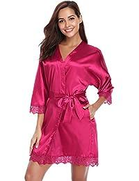 Aibrou Damen Einfarbige Spitze Satin Kimono Morgenmantel Kurz Robe Nachtwäsche Sleepwear V Ausschnitt mit Gürtel