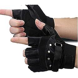 RETUROM La moda masculina suave cuero de las ovejas de conducción de la motocicleta del motorista sin dedos guantes calientes