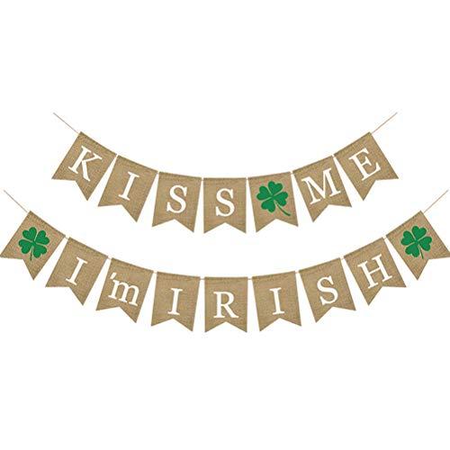Amosfun KÜSS Mich, ich Bin irische Shamrock Sackleinen Banner St.Patrick Day Dekorationen vierblättriges Kleeblatt Girlande