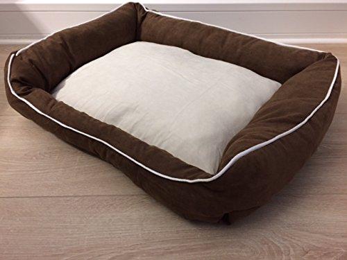 Hundebett Leo braun beige 60 x 45 cm Kuschel Bett Schlafplatz für Hunde und Katzen umweltfreundliches Material