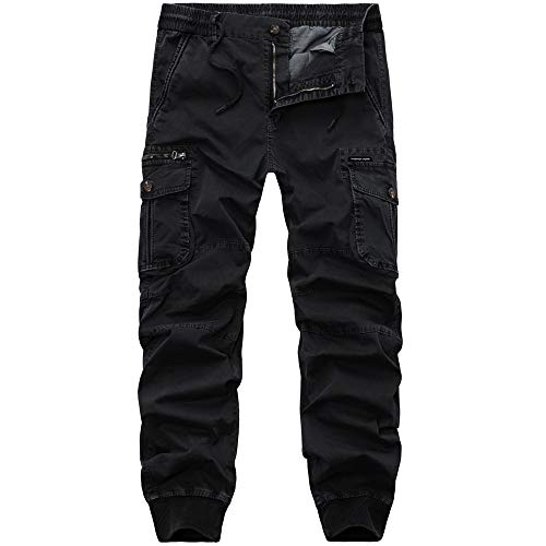 Feinny Herrenhosen Shorts Jeans/Herren Mode Persönlichkeit Plissee Krawatte Seil Elastische Reißverschlusstasche Lässige Arbeitskleidung Hosen Bottom Pants/Schwarz/M-3XL -