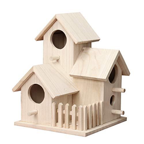 DingLong Vogelhaus Nistkasten, Vogelhäuschen aus Holz, Geschenk für Vogelliebhaber/Naturliebhaber, Aufhängen für Garten und Balkon (20.5X15.5X15.5cm)