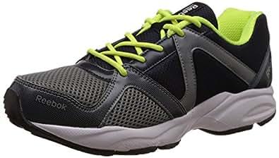 Reebok Men's Thunder Run Grey,Blue,Yellow,White and Black Running Shoes - 8 UK/India (42 EU)(9 US)