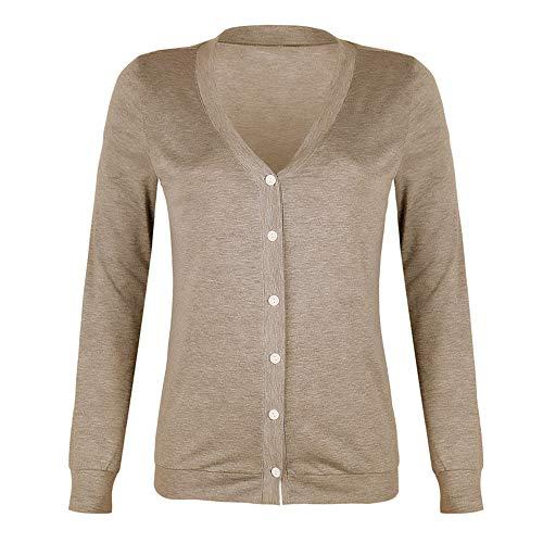 YEZIJIANG Oberteil Damen Herbst Basic V-Ausschnitt Langarmshirt Casual mit Knopf T-Shirt Frauen Langarm Pullover Lässige Einfarbig Sweatshirt Hemd Lose T Shirt Blusen Tunika Top