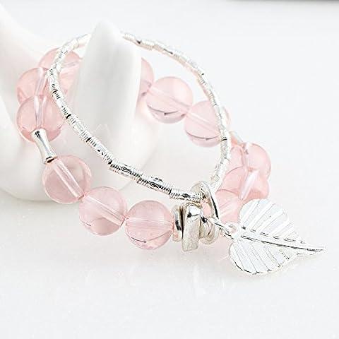 Beautiful Bead ?Donne chiaro Elegent rosa cristallo rotondo dei branelli della lega Zine Wristband del braccialetto - Rosa - Lega Wristband