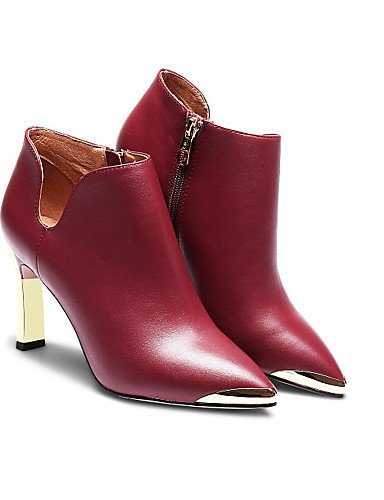 CU@EY Da donna-Stivaletti-Casual-Stivali-A stiletto-Scamosciato-Blu / Rosso burgundy-us6 / eu36 / uk4 / cn36