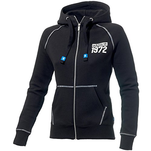 adidas Damen Sweatshirt Super Fleece Logo Zip Hoodie Schwarz