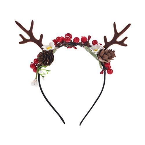 Lurrose Weihnachtskünstliches Rotwild Geweih Stirnband mit Blumen Berry für Mädchen Frauen Karnevals Partei