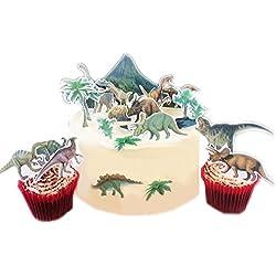Dinosaurio Jurrasic escena hecho de papel comestible perfecto para la decoración de tu cumpleaños Cakes- fácil de usar