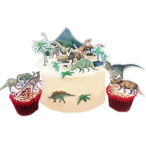 Escena jurásica de dinosaurios hecha de papel de oblea comestible para tarta. Completamente comestible y lista para usar. Las imágenes deben recortarse.