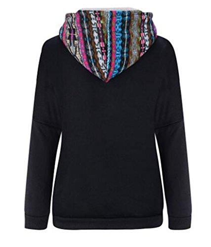 Tayaho Sweat à Capuche Automne Hiver Femme Pull Hoodie Manche Longue Pull-over Casual University Blouse Mode Patchwork Top Avec Poche Black