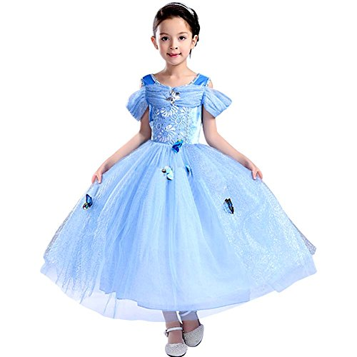 Bascolor Cinderella Kostüm Kinder Prinzessin Cinderella Kleid für Mädchen Karneval Verkleidung Halloween Party Kleid (5-6 Jahre) (Einfach Disney Kostüme Für Kinder)