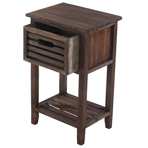 Mendler Kommode Beistelltisch Telefontisch, 57x35x27cm, Shabby-Look, Vintage ~ braun
