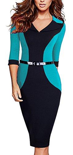 HOMEYEE Der eleganten Farben Block Revers 3/4 der Frauen formales Büro Damen tragen Kleid B354 Türkis