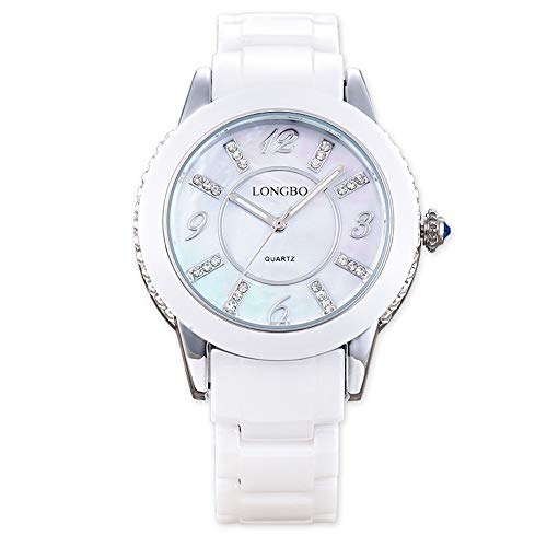 XMYL Frau Quarz Uhr,Wasserdicht Uhren,Mode Dekoration Diamant Uhr,Fritillaria Dial,Keramik Strap,Silver