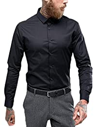 Essential Men's Cotton Formal Shirt (Black, Large)