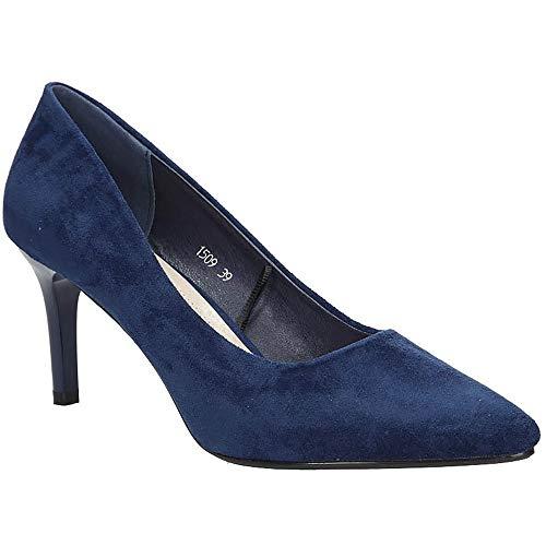 Sergio Leone Damen High Heels Pumps mit Absatz Stiletto | Party Schuhe | Blau | EUR 36