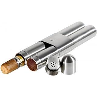 Lifestyle-Ambiente Adorini 2er Zigarrenetui Stahl - Satin/Zeder inkl Tastingbogen
