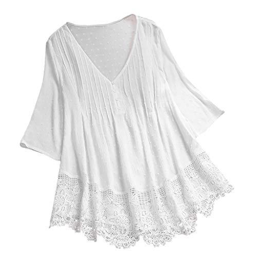 YEBIRAL Sommer Neu Damen Große Größen Leinen Einfarbig mit Rundhals Kurzarm T-Shirt Lose Tops Oberteile Bluse (EU-50/CN-5XL, A-Weiß)