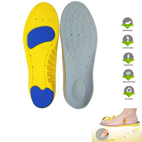 LEAGY Men's & Women's Memory Foam Orthopedic Blue Shoe Insole Premium Insoles Shoes with Arch Support Plantar Fasciitis Running Shoes Foot Pain Foot Care Sports Insoles (Yellow 8.5-10 US)