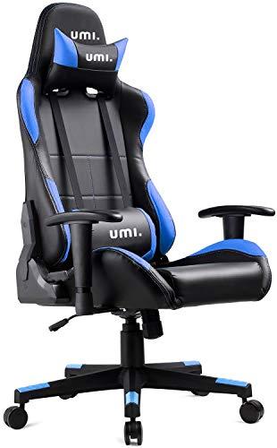 Umi. Essentials Gaming Stuhl PC Racing Stuhl Schreibtischstuhl Bürostuhl PU-Leder Drehstuhl mit Verstellbaren Rückenlehnen (Blau)