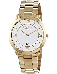Regent Herren-Armbanduhr XL Analog Quarz Edelstahl beschichtet 11140126