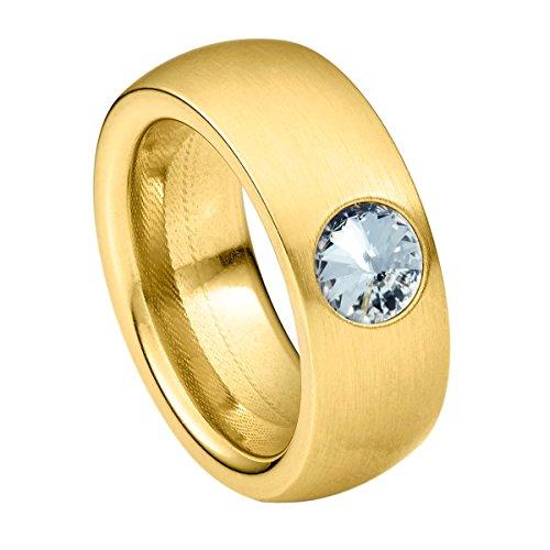 Heideman Ring Damen Coma 8 aus Edelstahl Gold farbend matt Damenring für Frauen mit Swarovski Stein Kristall Weiss im Fantasie Edelsteinschliff 6mm