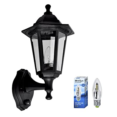 Traditional Style Black Outdoor Security PIR Motion Sensor IP44 Rated SMD LED Wall Light Lantern