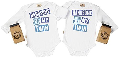 SR - estuche de presentación - Handsome Like My Twin body gemelos bebé - ropa para gemelos bebé - regalo para gemelos bebé, Blanco, 12-18 meses