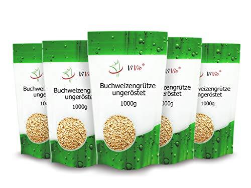 Buchweizengrütze ungeröstet 5 x 1000g - Vegan - Roh - Buchweizengrütze 5 x 1 kg - Nicht-Gmo - ViVio -