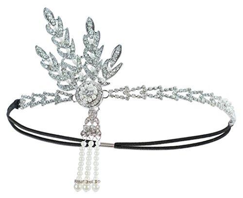 eaf Pearl Headpiece große Gatsby Stirnband 20er Jahre Art Deco Hochzeit Tiara (20er Jahre Art Deco)