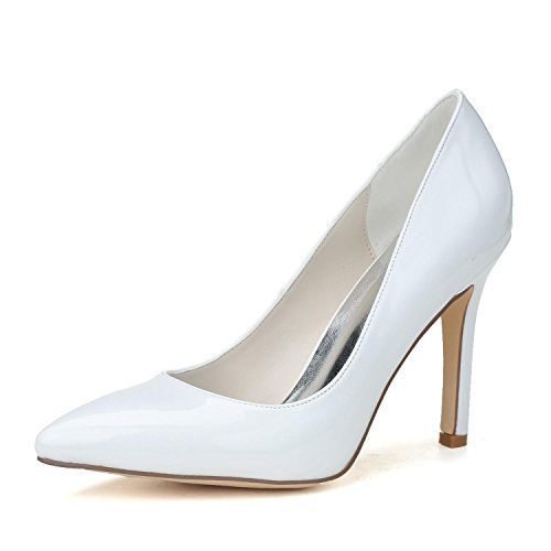 L@YC Scarpe Da Sposa Da Donna # 0608-14 In Pelle a Punta / Comode / Scarpe Da Festa E Tacco alto Large Size White