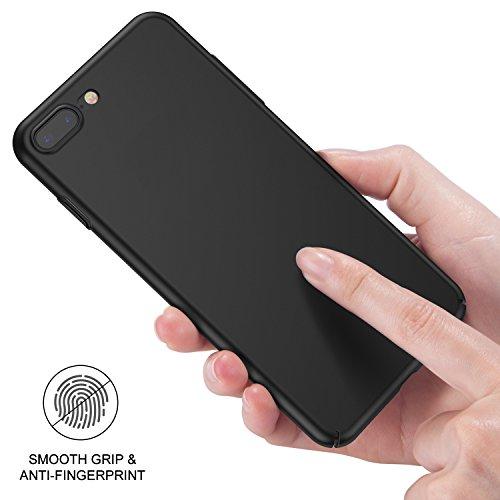 iPhone 7 Plus Hülle, RANVOO Extra Dünn Hard Ultra Slim Case aus Plastik Material Anti-Kratzer Anti-Fingerabdruck Leicht Schale Voller Schutz für iPhone 7 Plus Schwarz, [TOUGH005] Schwarz