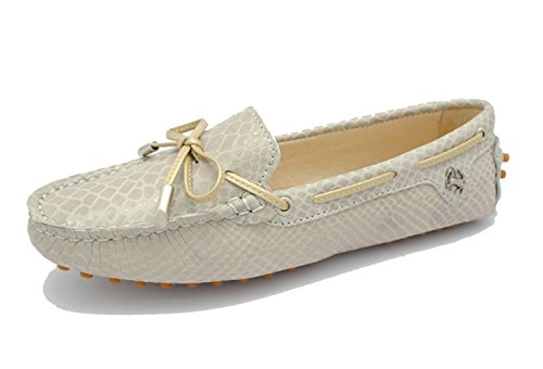Minitoo tyb960–9Donna Casual Zigrino nodo in pelle sintetica guida scarpe mocassini mocassino Flats Khaki
