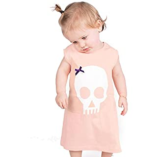 Skull & Bow Baby Girls Dress | Alternative Girl Pink PEACH Baby & Toddler Goth Metal Summer Party Dresses - Baby Shower, Twin, Halloween Outfit or 1st Birthday Gift | BABY MOO'S UK (6-12 months)
