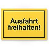 Ausfahrt freihalten Kunststoff Schild (gelb, 30 x 20cm), Ausfahrt Tag/Nacht freihalten - kostenpflichtig abgeschleppt, Hinweisschild Ausfahrt - auch gegenüber, Parken verboten - Parkverbot